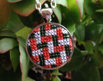 Cross Stitch Necklace Cross Stitch Pendant by Calimerodesign