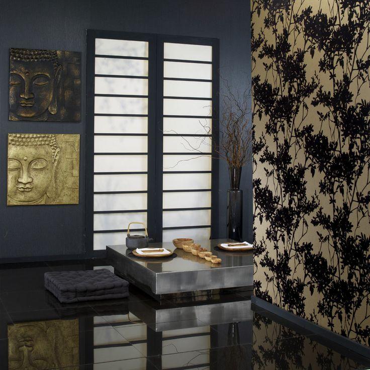 Karma Black & gold flock wallpaper, Peaceful Buddha 3D Canvas in Gold and Black & gold and Samba Plain black wallpaper