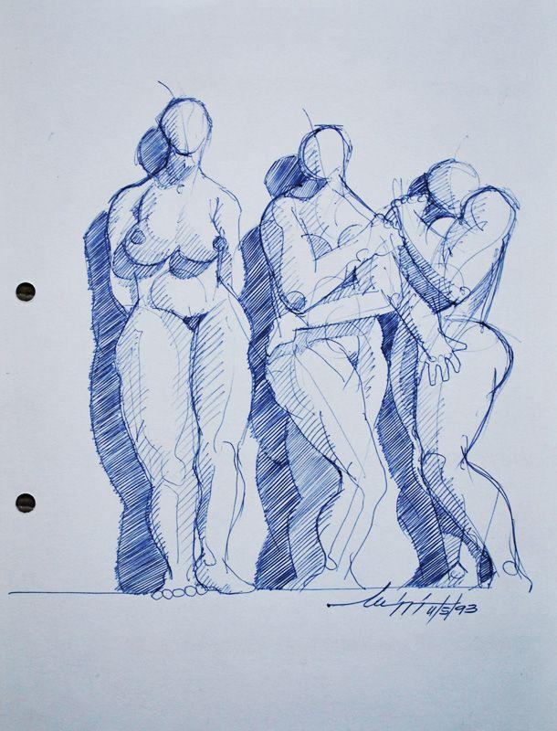 Bozzetto - Penna su carta, 1992