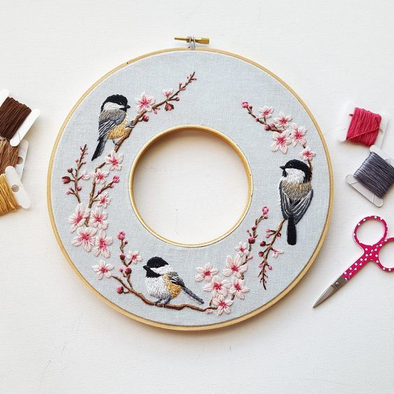 Spring Wreath Embroidery Kit with Video Tutorial – Namaste Embroidery