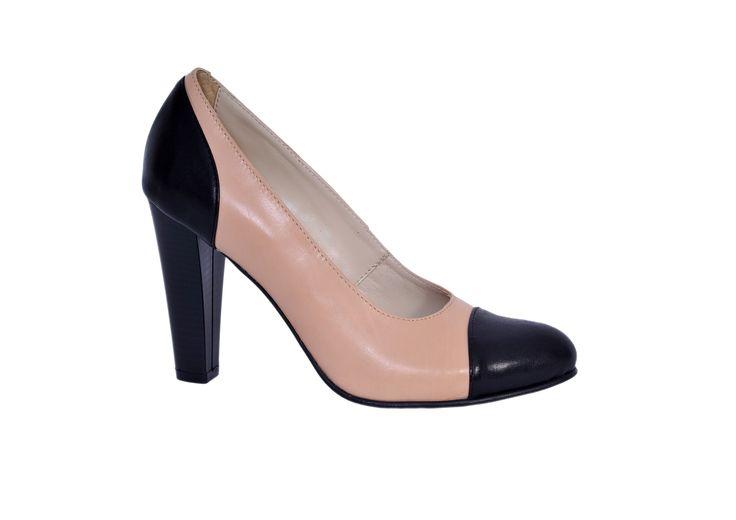 Pantofi online Clasic toc gros, negru/crem
