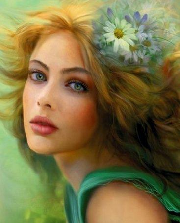 Светловолосая девушка в зеленом платье, с ромашками в волосах