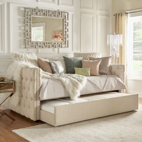 Features:  -Upholstery fill: Polyurethane foam.  -Nailhead trim silhouette and tuftings.  -Made for twin size mattress.  -Weight limit: 400 lbs.  -Back finish: Black.  -Mattress cover included: No.  S