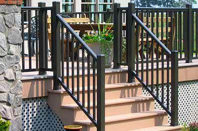 outdoor stair rail | Stair railings, Railing Dynamics stair railing, aluminum stair ...