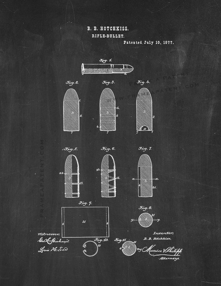 """Rifle Bullet Patent Print - Chalkboard 5"""" x 7"""" for $7.95"""