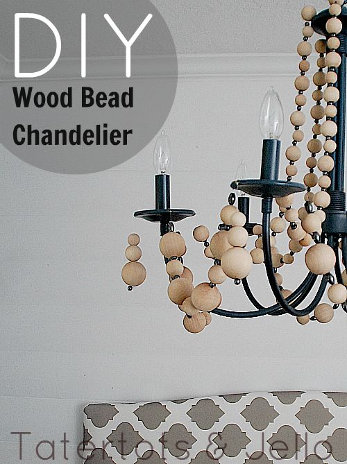 Make a wood bead chandelier. #DIY