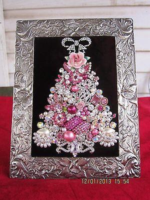 ~~FRAMED Jewelry CHRISTMAS Tree~~RHINESTONE~~Pearls~~OOAK~~8 X 6~~PINKS~~