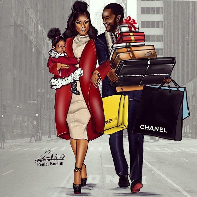 Black Family Love Art
