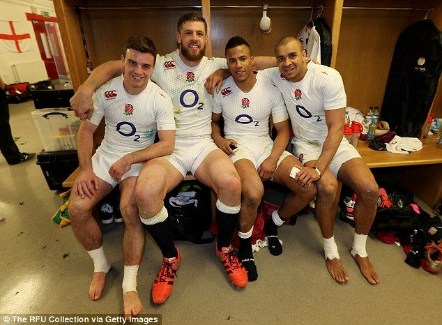 Bath quartet George Ford, Dave Attwood, Anthony Watson and Jonathan Joseph (left-right) celebrate England's 21-16 win against Wales in the RBS 6 Nations on Friday night after full-time.