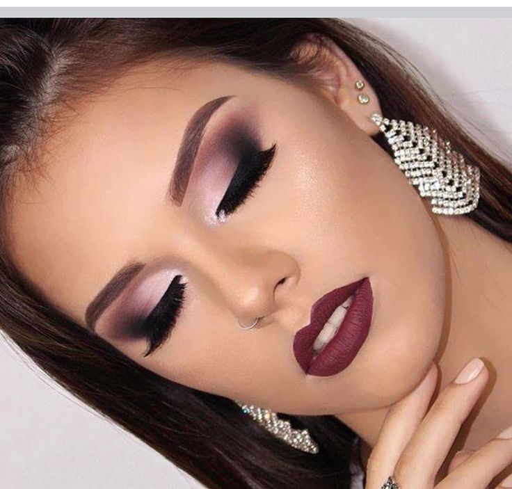 Purple eye look. Make sure if you use a color near your tear duct it is matte.