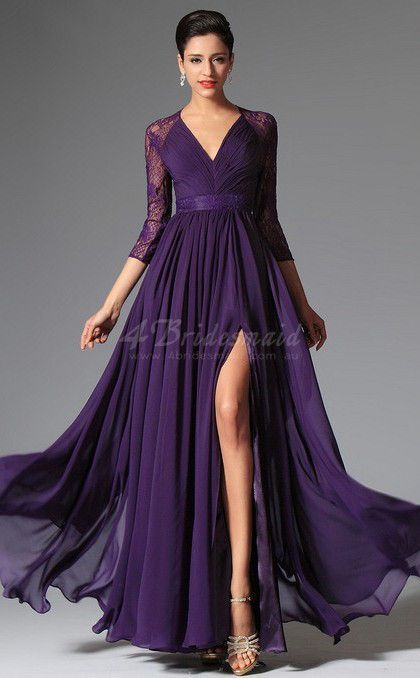 Purple V-Neck Long Chiffon and Lace Bridesmaid Dress with Split Front-JT1319...This without the slit? Or shorter slit?