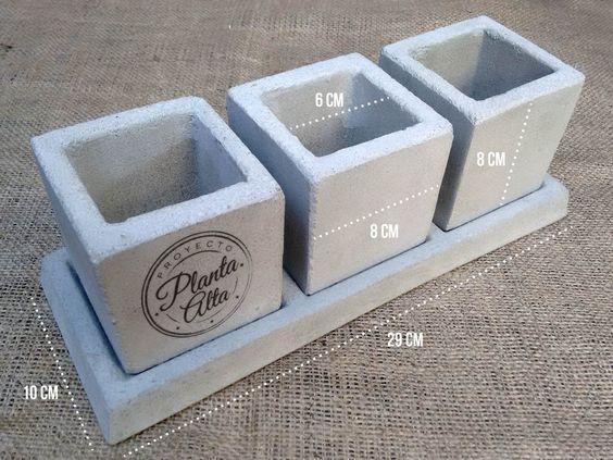 maceta de cemento cubo 8x8 diseño souvenir