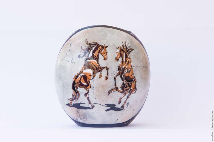 """Купить Фарфоровая ваза """"Мраморные кони"""" - серый, ваза, фарфоровая ваза, ручная роспись"""