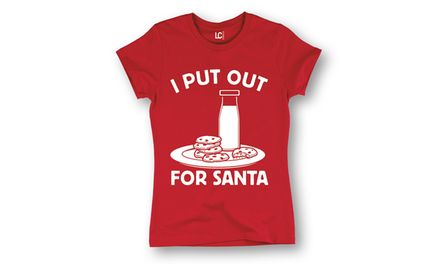 Ladies Short Sleeve Tee: I Put Out for Santa - L