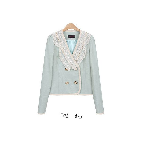 Lace Trim Piped Jacket ($92) ❤ liked on Polyvore featuring outerwear, jackets, blazers, tops, pink jacket, pink blazer, mint green blazer, mint jacket und mint blazer