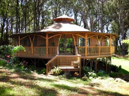 A yurt with a wrap-around porch!
