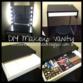 I can easily make this out of my old desk... just need a mirror and the lights... and somehow construct a drawer.