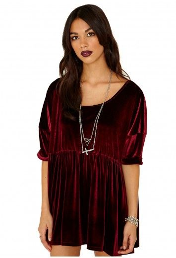 Missguided - Leary Velvet Trapeze Dress In Burgundy