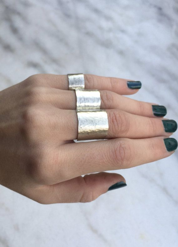 TRIPLE CUFF RINGS Cuff Ring Set Alpaca Silver by NARCISSUSJEWELRY