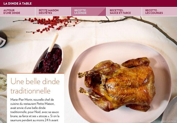 Marie-PierMorin, nouvelle chef de cuisine du restaurant PetiteMaison, avait envie d'une belle dinde traditionnelle, pourNoël, avec sasauce brune, safarce etses«atocas». Si on la saumure pendant au moins 24h avant