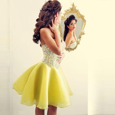 Short Yellow Pretty Custom Homecoming Dress,Sweetheart Graduation…