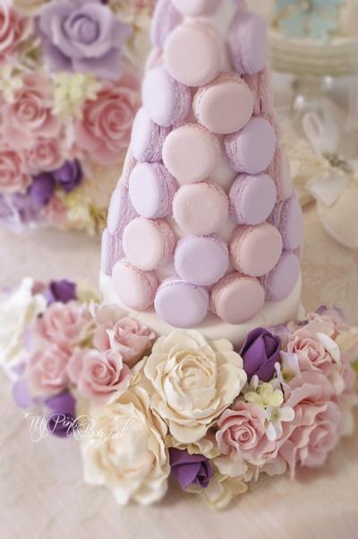 020//マカロンカラー:淡いピンク×淡いパープル、ガーランド:ブーケとお揃いのお花。ブーケ021と同じお花でガーランドを製作しています。