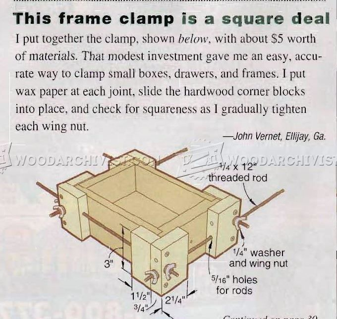 DIY Frame Clamp - Clamp and Clamping Tips, Jigs and Fixtures   WoodArchivist.com