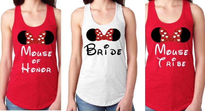 Disney Bachelorette Party Shirt Set, Disney Bride, Disney Bridesmaid, Bridal Party Shirts, Disney Wedding, Disney Matching Shirts, Minnie by LittleBirdiPaperShop on Etsy https://www.etsy.com/listing/472073462/disney-bachelorette-party-shirt-set