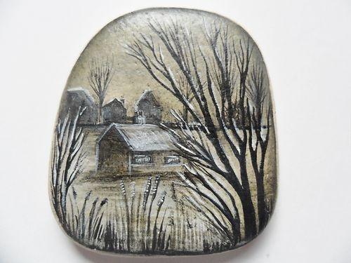 Miniature art - hand painted English sea pottery - Bleak Winter village