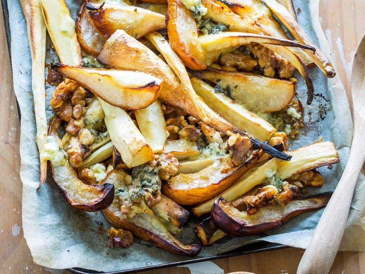 This roasted parsnip recipe is taken to new heights with the addition of pear, blue cheese and walnuts