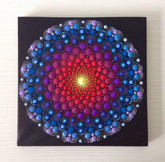 Original Dotart Purple Mandala Painting on Canvas, 20x20cm Painting, Office and home ornament decoration Gift Dotilism Dotart Henna Art