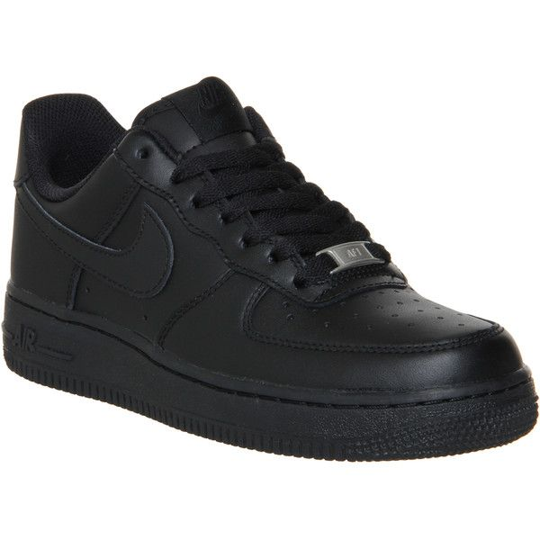Nike Air Force 1 Lo (w) (€97) ❤ liked on Polyvore featuring shoes, sneakers, nike, trainers, black, hers trainers, low sneakers, genuine leather shoes, leather sneakers and nike trainers