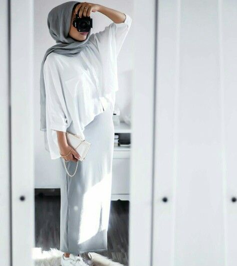 Nuriyah O. Martinez | oversized white shirt + gray skirt + white sneakers + gray scarf/hijab