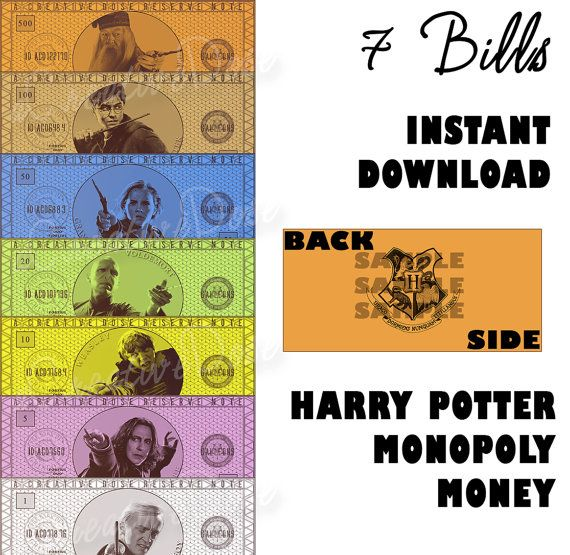 DIY Harry Potter Monopoly Money, Instant Digital Download - Money Only