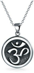 Bling Jewelry Round Aum Medallion Om Pendant Sterling Silver Necklace 18 Inches.