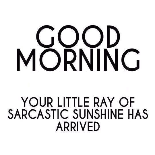 Good Morning Sunshine Words : Good morning your little ray of sarcastic sunshine has