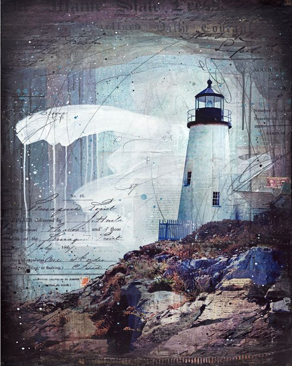 A Thousand Storms - paper print of Pemaquid Point Maine lighthouse mixed media collage