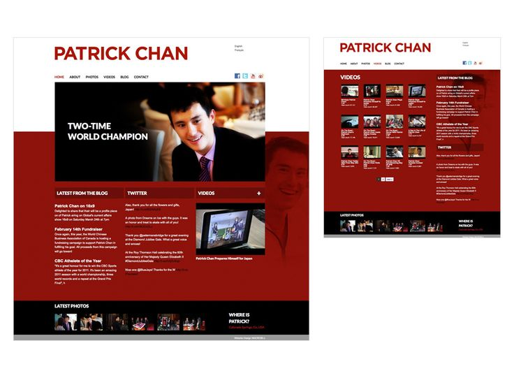 Patrick Chan website design by Macroblu.