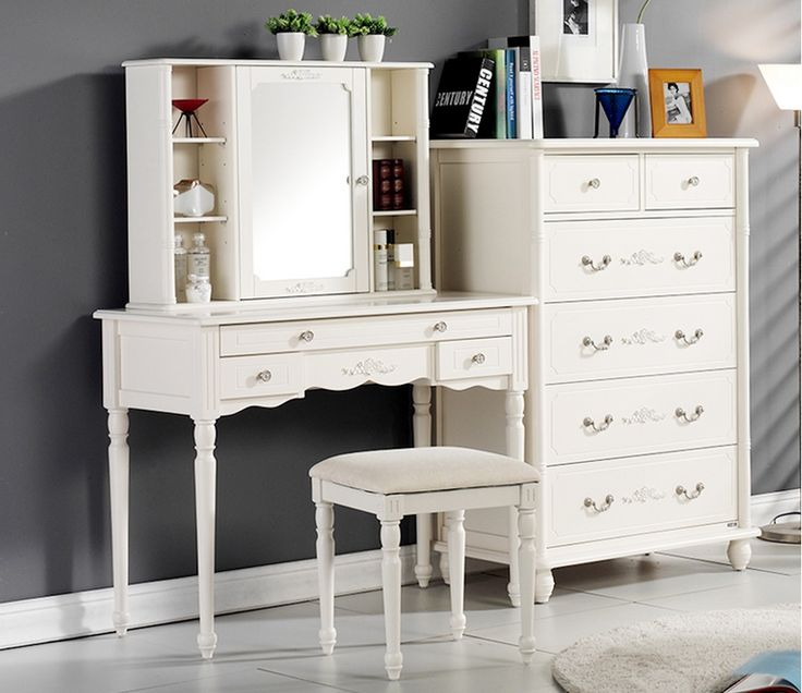 Classic Angela Dressing Mirror. Turned Legs, Metal Silver Handle, Shelves  Storage Behind Mirror