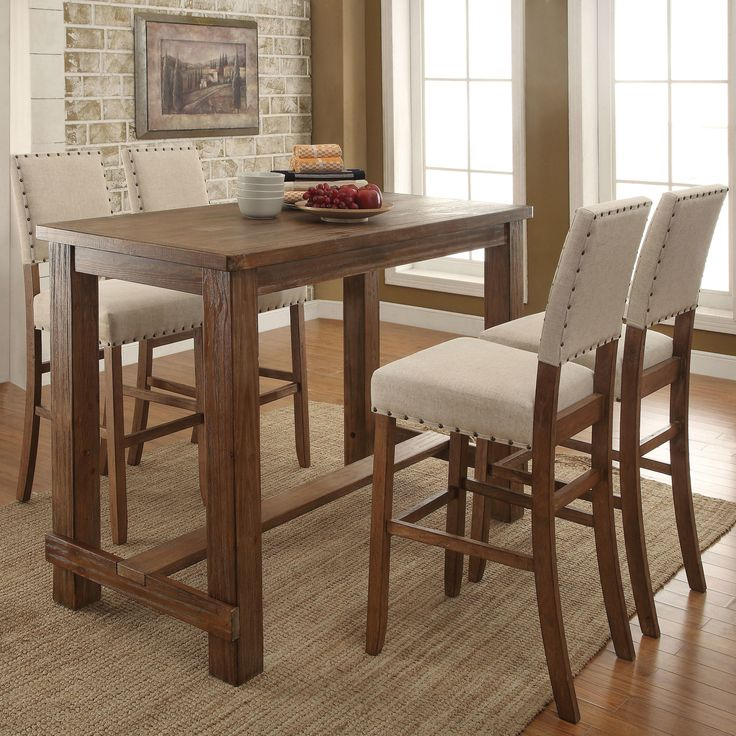 Features:  -Finish: Natural tone.  -Contemporary style.  -Rectangle table.  Product Type: -Pub table set.  Table Base Type: -Legs.  Table Shape: -Rectangle.  Style: -Traditional.  Table Finish: -Natur