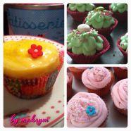 """like a lemon pie"" cupcake, fresh mint & chocolate cupcakes, strawberry cupcakes"