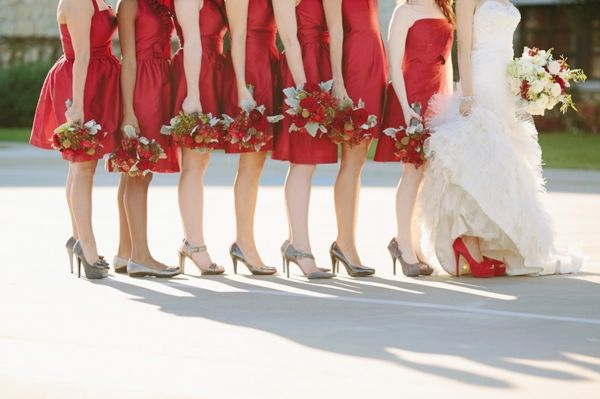 bridal party, red Alfred Sung bridesmaids dresses, gray mismatched bridesmaids shoes, bride's red shoes, colored wedding shoe trend, traditional red and white wedding, Korie Lynn Photography