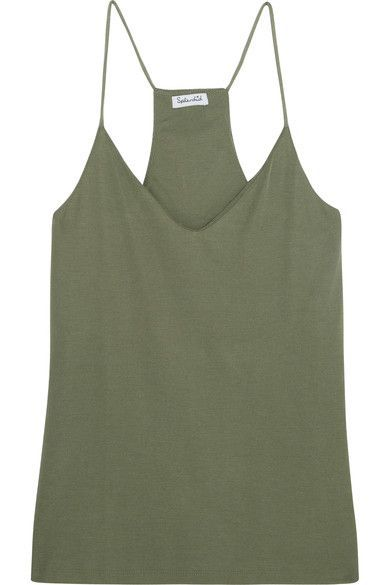 Splendid - Sandwashed Ribbed-knit Camisole - Army green - x small