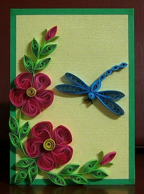 quilled vortex flower with dragon fly -go to Ali's blog shown on 1st paragraph for step by step pictures how to make the vortex