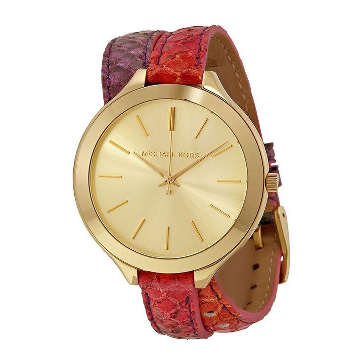KORS Runway Gold Dial Python Print Leather Double Wrap Watch MK2390 NWT NIB  #MichaelKors #