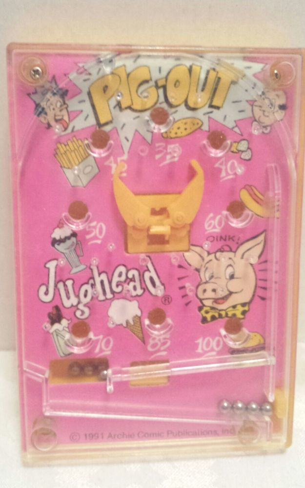 1991 Archie Comic Publications inc Hand Held Pinball Game Toy Pig-Out Jughead