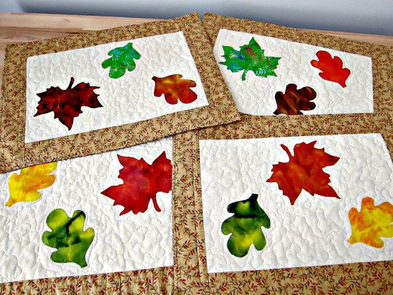 Quilted Placemats Autumn Fall Leaves