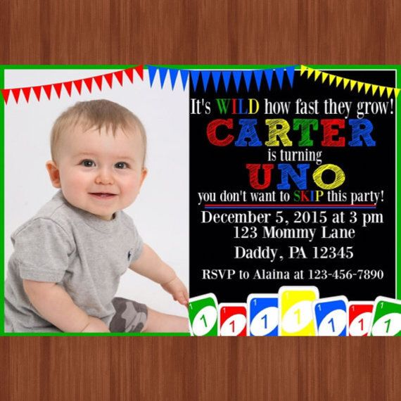 UNO Themed Birthday Party Invitation