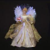 KSA LED Fiber Optic Ivory and Gold Angel Lit Tree Topper