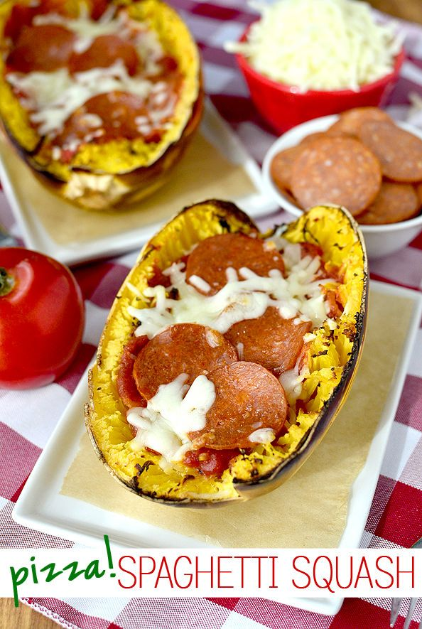 Pizza Spaghetti Squash is a fun and filling twist on pizza (and spaghetti, for that matter!) | iowagirleats.com